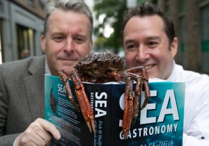NEWS 14102015 No repro fee Michelin Star Chef Ross Lewis today launched SEA GASTRONOMY Fish & Shellfish of the North Atlantic written by Galway Chef Michael O'Meara in Dublin's Smock Alley. An encyclopaedic culinary study of the huge variety of fish and shellfish in the North Atlantic, 12 Chapters; 235 Recipes; 120 species of fish and shellfish; 375 imagesMichelin Star Chef and co owner at Chapter One Restaurant, Ross Lewis today, Wednesday 14th October 2015 at Dublin's Smock Alley Theatre launched SEA GASTRONOMY Fish and Shellfish of the North Atlantic written by fellow chef and colleague, Galway based Michael O' Meara, founder of the renowned Oscar's Seafood Bistro.SEA GASTRONOMY, Fish and Shellfish of the North Atlantic is a hardback encyclopaedic culinary study of the huge variety of fish and shellfish in the North Atlantic and is the essential companion for any fish lover's kitchen and of course the ideal Christmas gift. Pictured are Ross Lewis and Michael O' Meara. Picture by Shane O'Neill Photography. For more info contact Noreen D'Arcy, 091 568390 / 086 8227556.